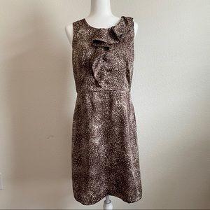 Loft Sleeveless Animal Print Ruffle Dress 10